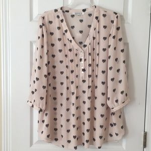 Rose + Olive heart tunic blouse
